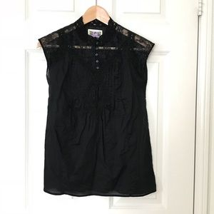 Free People Black Lace Top Sleeveless Peasant XS S